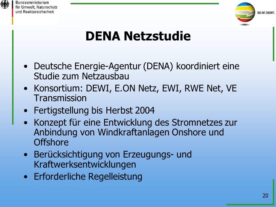 20 DENA Netzstudie Deutsche Energie-Agentur (DENA) koordiniert eine Studie zum Netzausbau Konsortium: DEWI, E.ON Netz, EWI, RWE Net, VE Transmission F