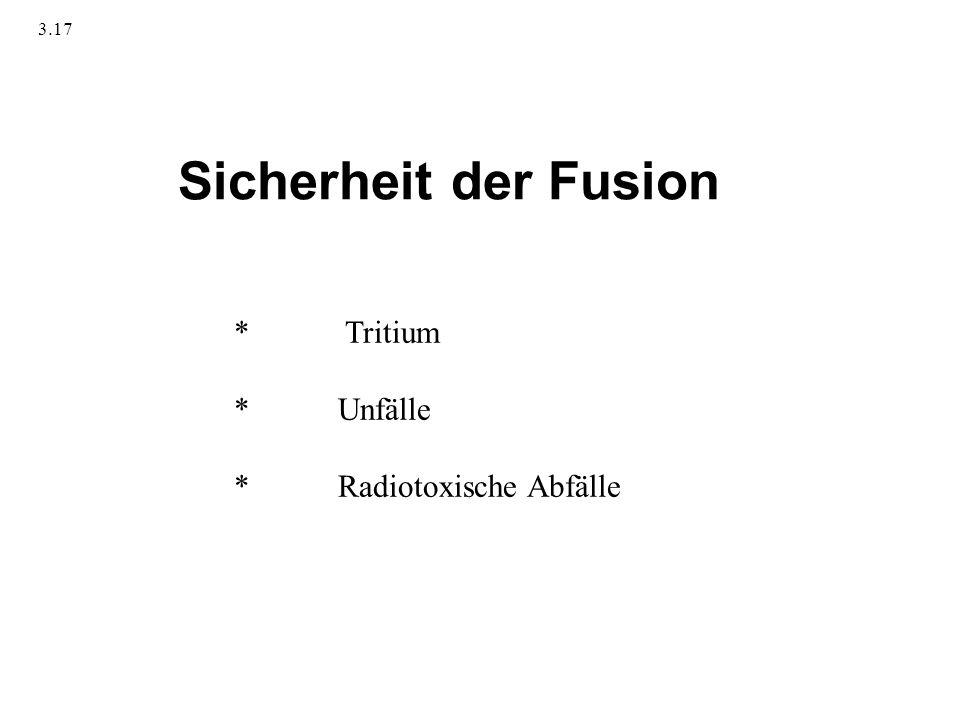 Sicherheit der Fusion * Tritium * Unfälle * Radiotoxische Abfälle 3.17