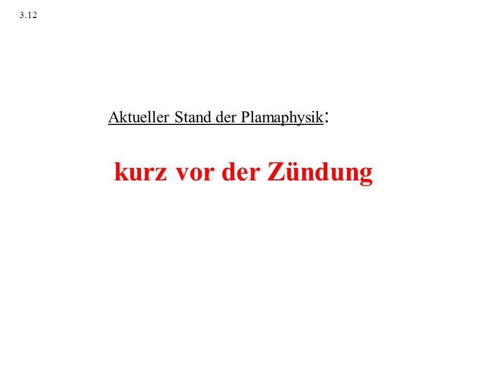 Aktueller Stand der Plamaphysik : kurz vor der Zündung 3.12