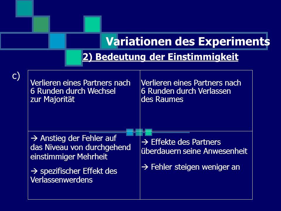 Variationen des Experiments 2) Bedeutung der Einstimmigkeit c) Anstieg der Fehler auf das Niveau von durchgehend einstimmiger Mehrheit spezifischer Ef