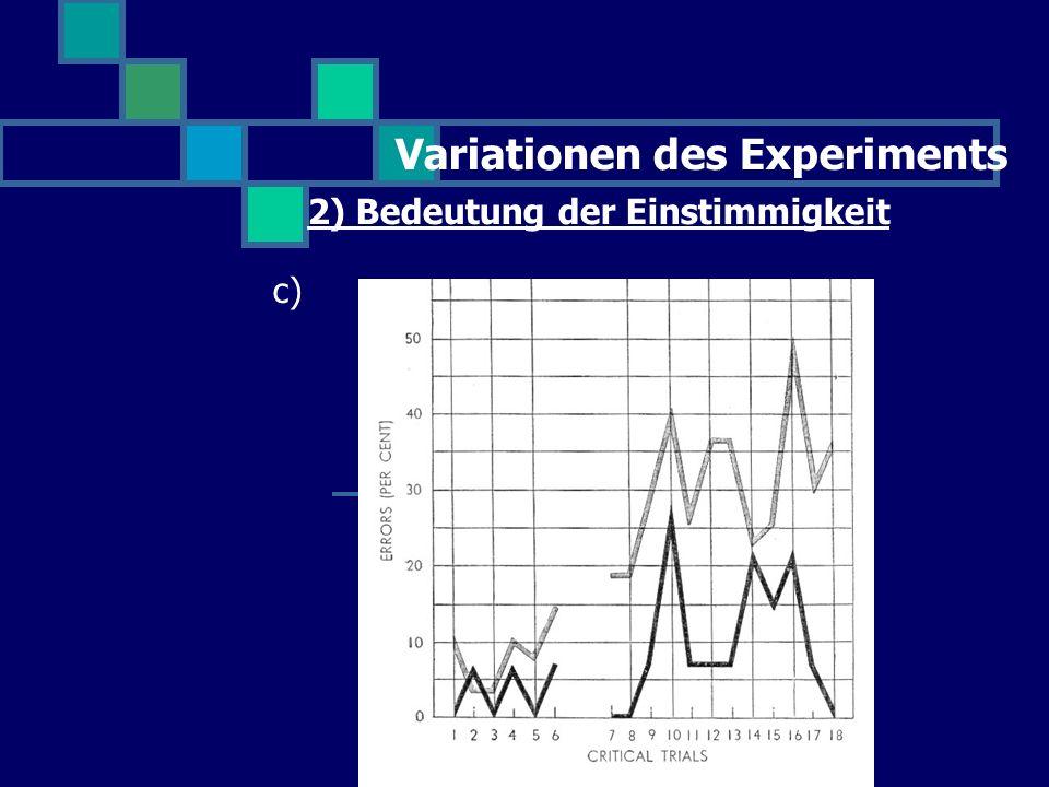 Variationen des Experiments 2) Bedeutung der Einstimmigkeit c)