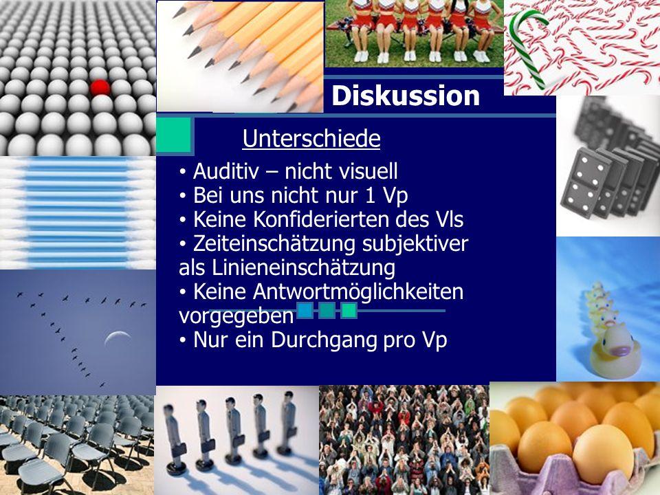 Diskussion Unterschiede Auditiv – nicht visuell Bei uns nicht nur 1 Vp Keine Konfiderierten des Vls Zeiteinschätzung subjektiver als Linieneinschätzun