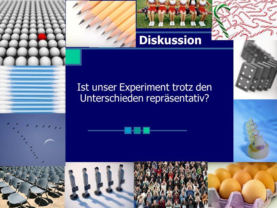 Diskussion Ist unser Experiment trotz den Unterschieden repräsentativ?