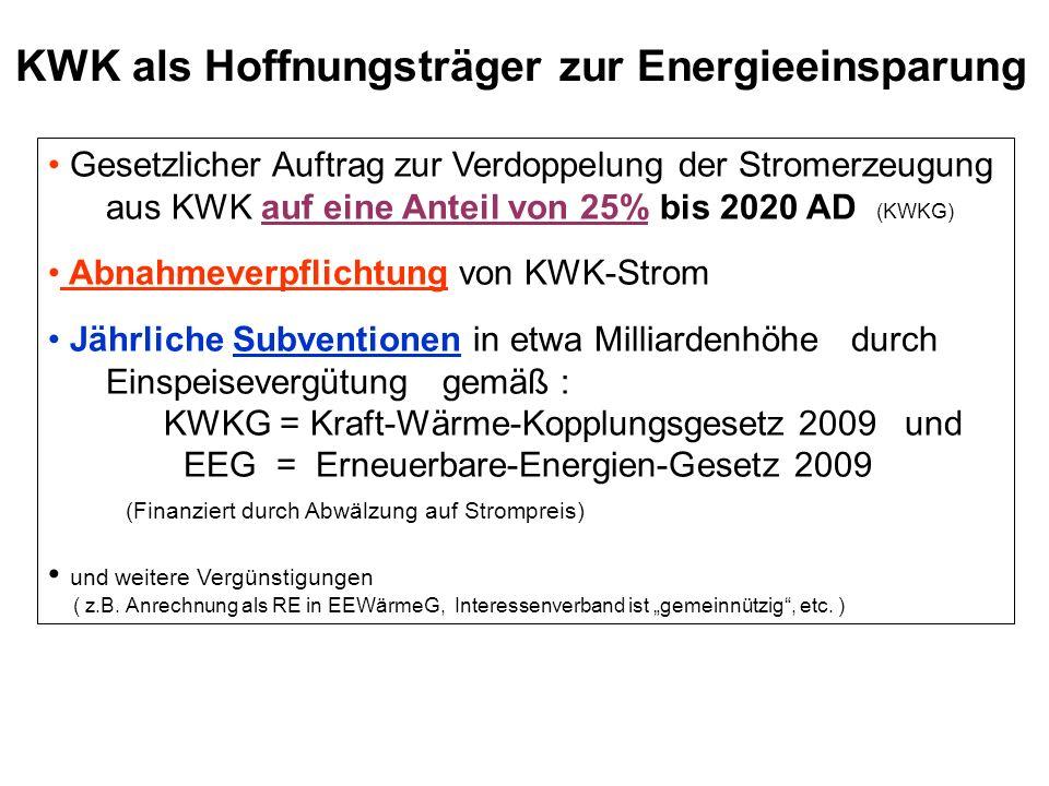 KWK als Hoffnungsträger zur Energieeinsparung Gesetzlicher Auftrag zur Verdoppelung der Stromerzeugung aus KWK auf eine Anteil von 25% bis 2020 AD (KW