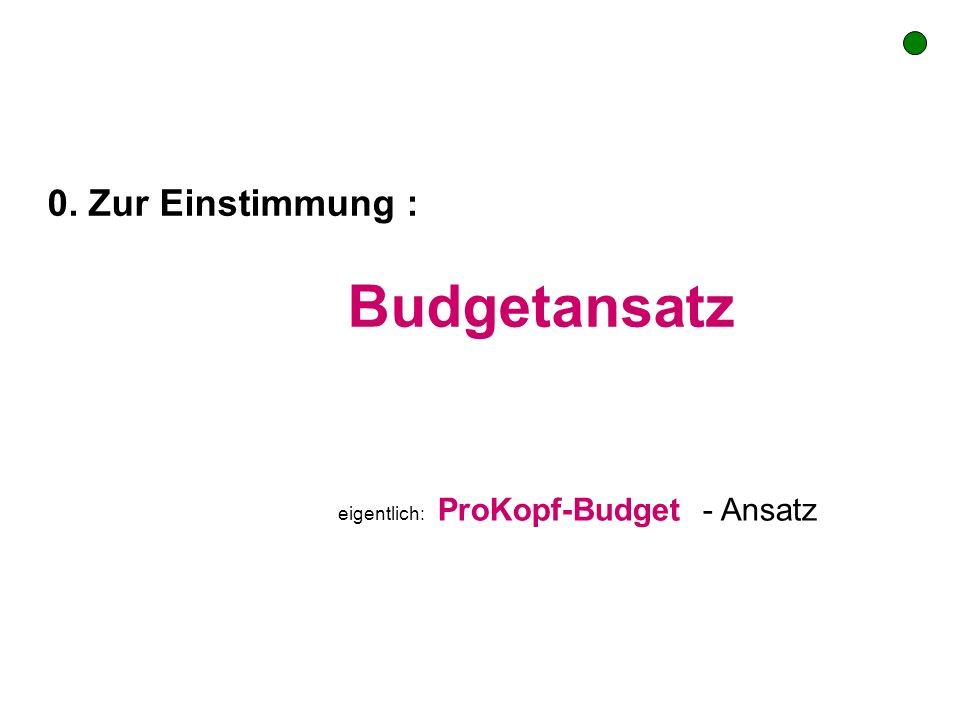 0. Zur Einstimmung : Budgetansatz eigentlich: ProKopf-Budget - Ansatz