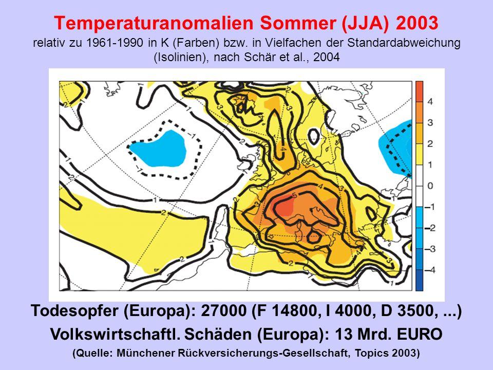 Temperaturanomalien Sommer (JJA) 2003 relativ zu 1961-1990 in K (Farben) bzw. in Vielfachen der Standardabweichung (Isolinien), nach Schär et al., 200