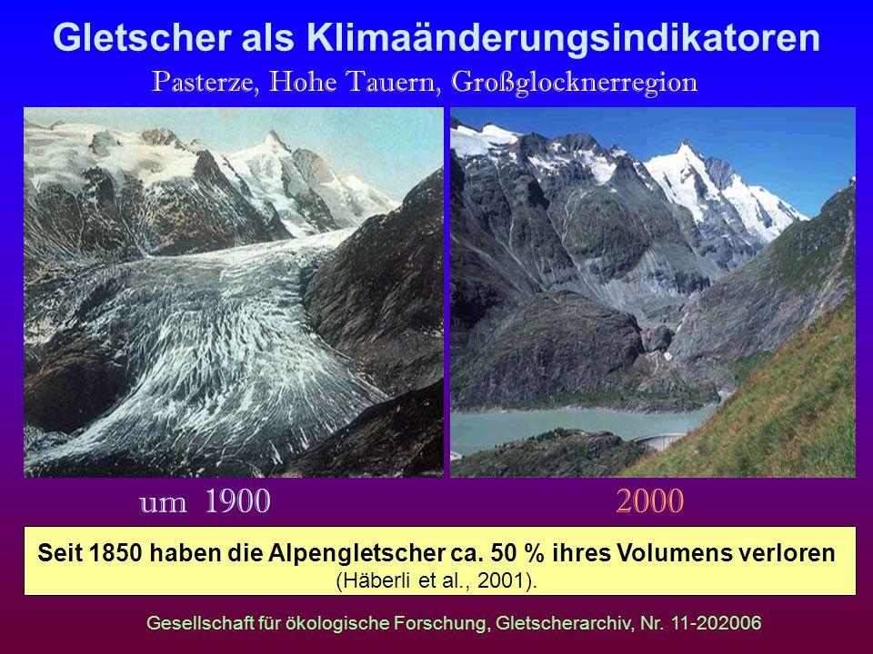 Gletscher als Klimaänderungsindikatoren Pasterze, Hohe Tauern, Großglocknerregion um 1900 2000 Gesellschaft für ökologische Forschung, Gletscherarchiv