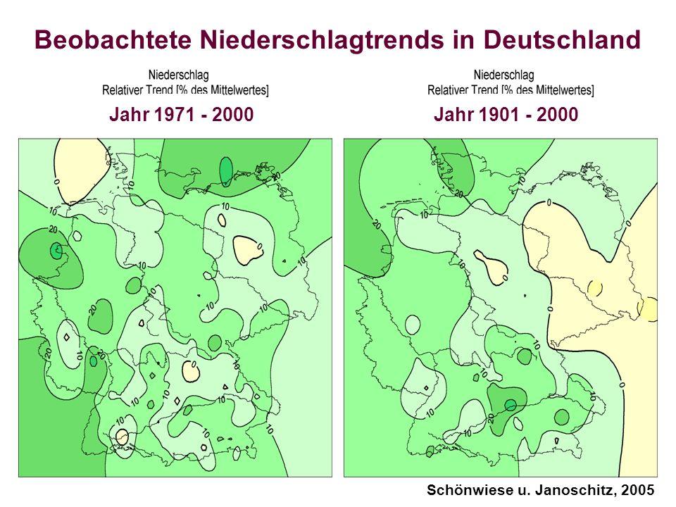 Beobachtete Niederschlagtrends in Deutschland Jahr 1971 - 2000 Jahr 1901 - 2000 Schönwiese u. Janoschitz, 2005