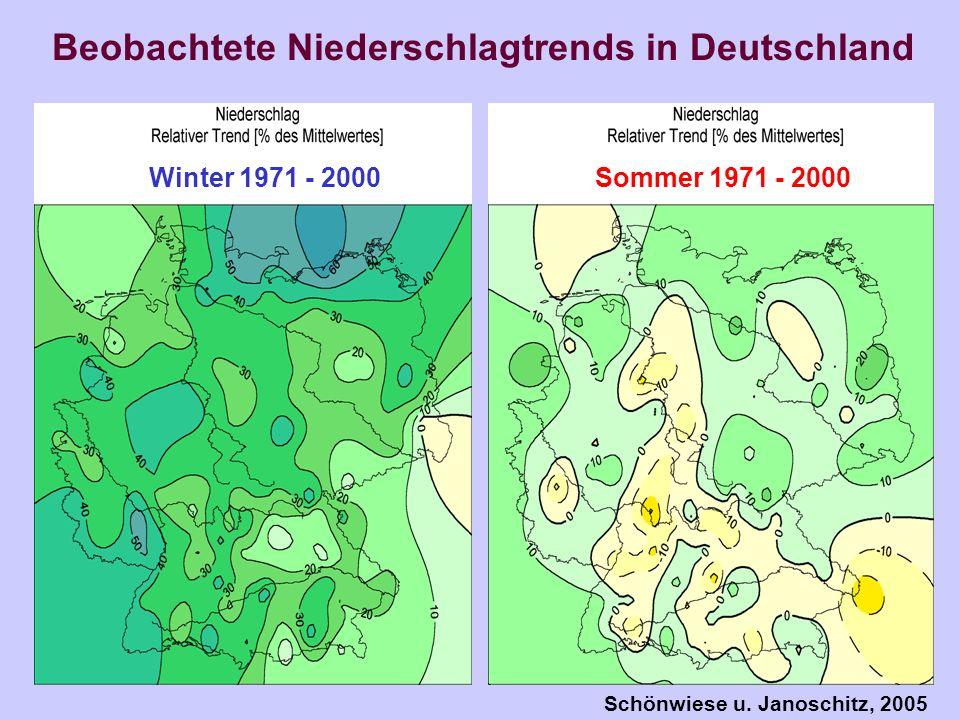 Beobachtete Niederschlagtrends in Deutschland Winter 1971 - 2000 Sommer 1971 - 2000 Schönwiese u. Janoschitz, 2005