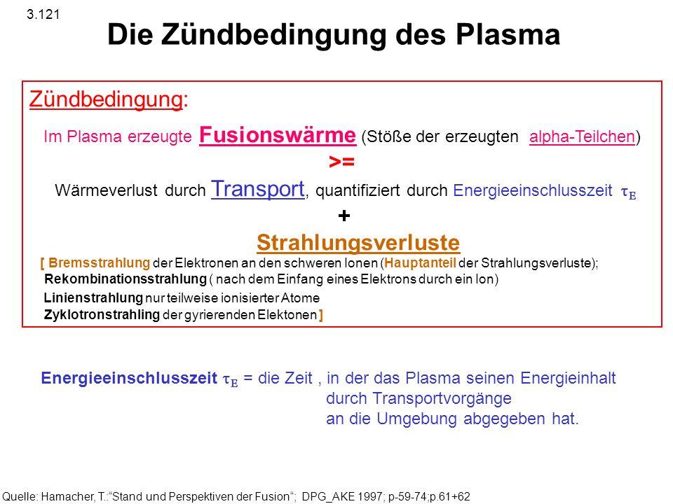 Die Zündbedingung des Plasma Zündbedingung: Im Plasma erzeugte Fusionswärme (Stöße der erzeugten alpha-Teilchen) >= Wärmeverlust durch Transport, quan