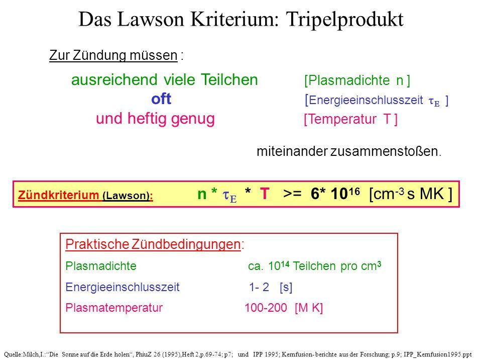 Das Lawson Kriterium: Tripelprodukt Praktische Zündbedingungen: Plasmadichte ca. 10 14 Teilchen pro cm 3 Energieeinschlusszeit 1- 2 [s] Plasmatemperat