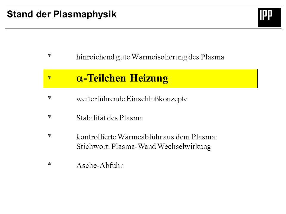Stand der Plasmaphysik *hinreichend gute Wärmeisolierung des Plasma * -Teilchen Heizung *weiterführende Einschlußkonzepte *Stabilität des Plasma *kont