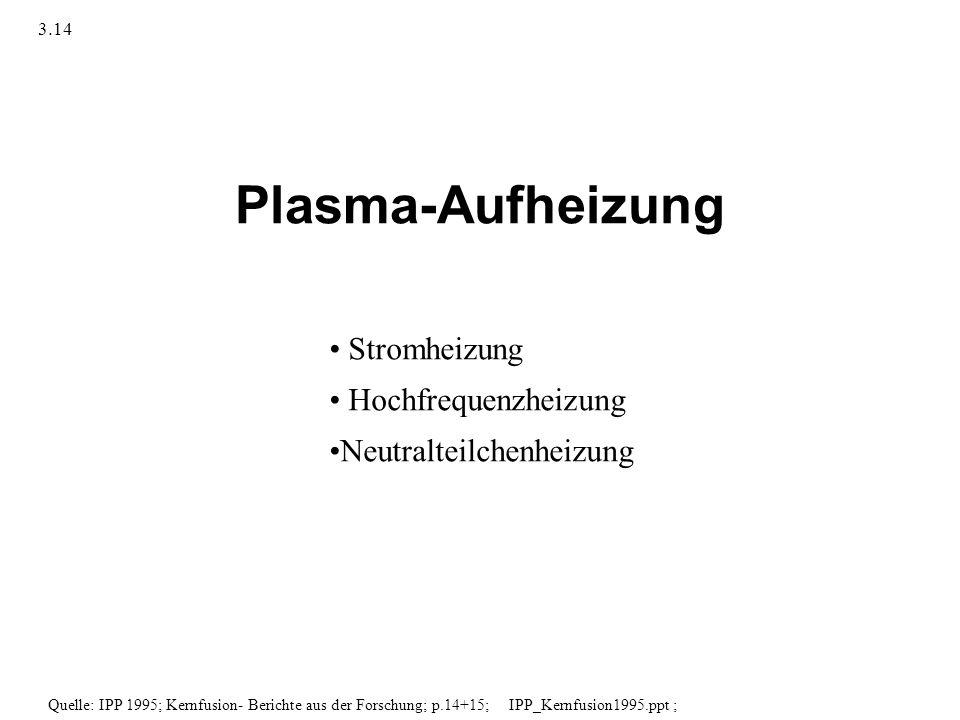 Plasma-Aufheizung Stromheizung Hochfrequenzheizung Neutralteilchenheizung Quelle: IPP 1995; Kernfusion- Berichte aus der Forschung; p.14+15; IPP_Kernf