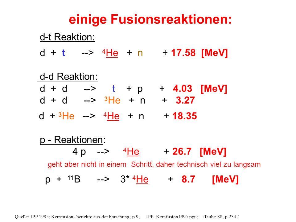 einige Fusionsreaktionen: d-t Reaktion: d + t --> 4 He + n + 17.58 [MeV] d-d Reaktion: d + d --> t + p + 4.03 [MeV] d + d --> 3 He + n + 3.27 d + 3 He