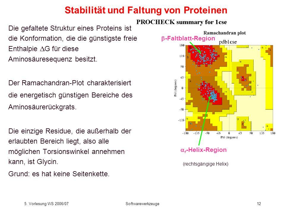5. Vorlesung WS 2006/07Softwarewerkzeuge12 Stabilität und Faltung von Proteinen Die gefaltete Struktur eines Proteins ist die Konformation, die die gü