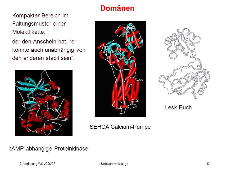 5. Vorlesung WS 2006/07Softwarewerkzeuge13 Kompakter Bereich im Faltungsmuster einer Molekülkette, der den Anschein hat, er könnte auch unabhängig von