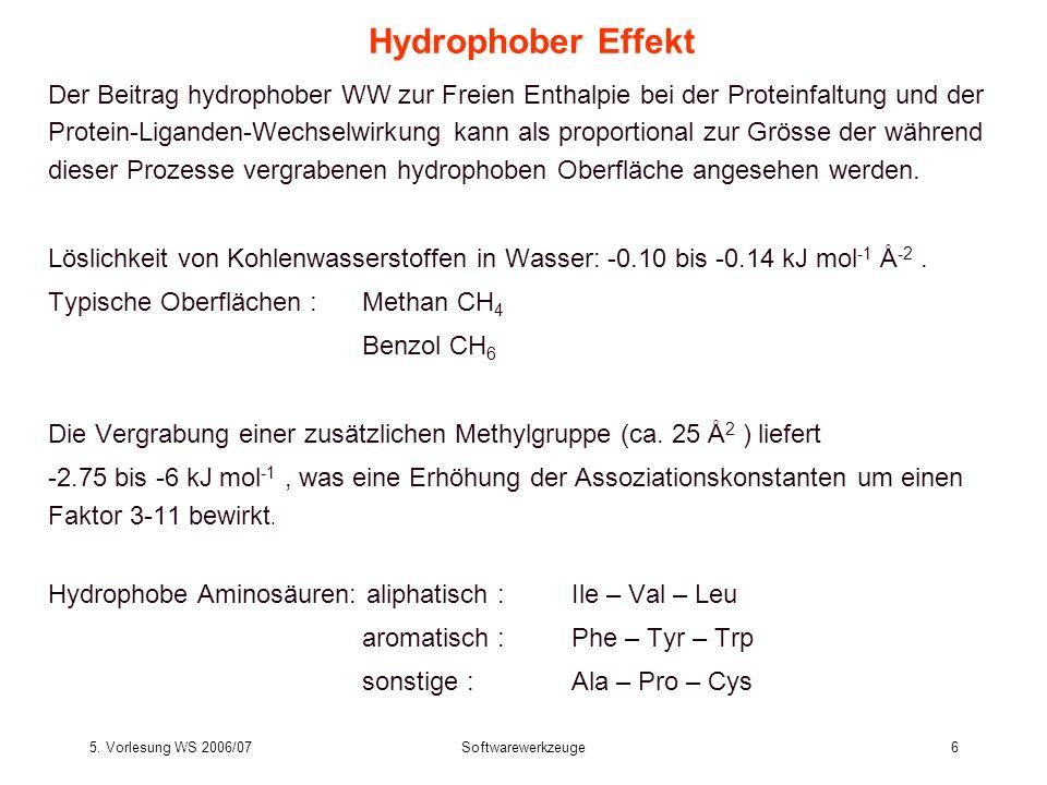 5. Vorlesung WS 2006/07Softwarewerkzeuge6 Hydrophober Effekt Der Beitrag hydrophober WW zur Freien Enthalpie bei der Proteinfaltung und der Protein-Li