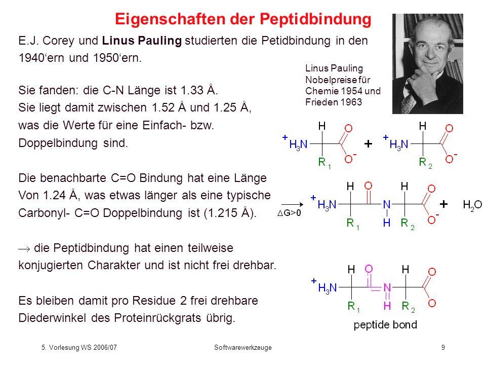 5. Vorlesung WS 2006/07Softwarewerkzeuge9 E.J. Corey und Linus Pauling studierten die Petidbindung in den 1940ern und 1950ern. Sie fanden: die C-N Län