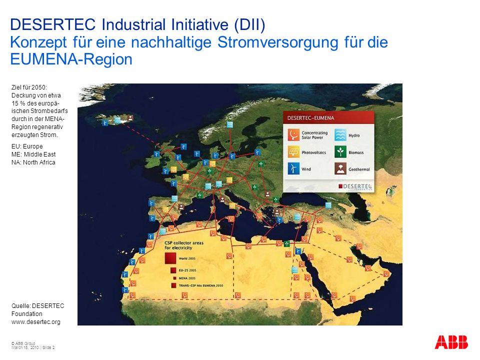 © ABB Group March 15, 2010 | Slide 2 DESERTEC Industrial Initiative (DII) Konzept für eine nachhaltige Stromversorgung für die EUMENA-Region Quelle: DESERTEC Foundation www.desertec.org Ziel für 2050: Deckung von etwa 15 % des europä- ischen Strombedarfs durch in der MENA- Region regenerativ erzeugten Strom.