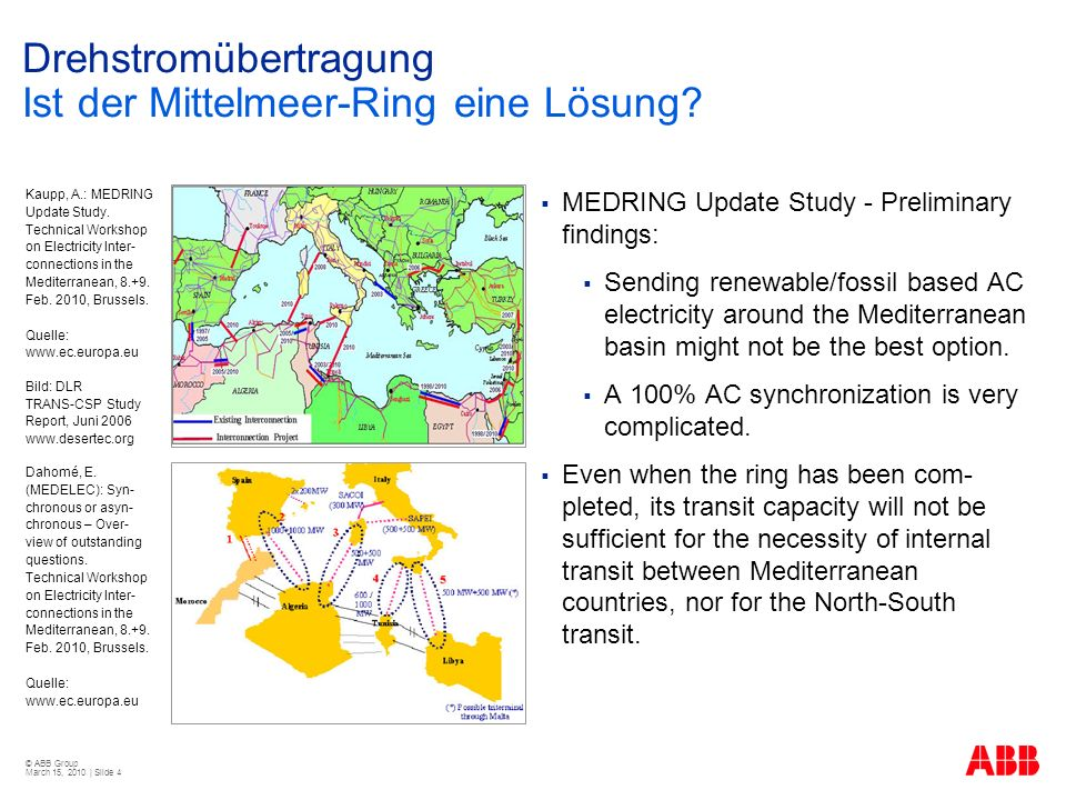 © ABB Group March 15, 2010 | Slide 4 Drehstromübertragung Ist der Mittelmeer-Ring eine Lösung? MEDRING Update Study - Preliminary findings: Sending re