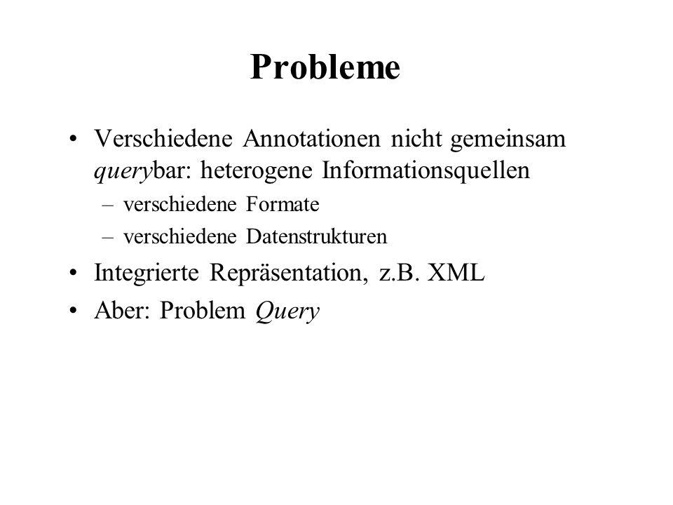 Probleme Verschiedene Annotationen nicht gemeinsam querybar: heterogene Informationsquellen –verschiedene Formate –verschiedene Datenstrukturen Integr