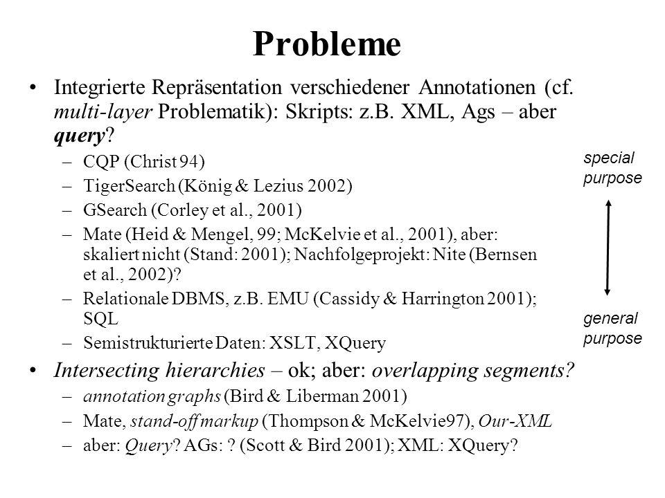 Probleme Integrierte Repräsentation verschiedener Annotationen (cf. multi-layer Problematik): Skripts: z.B. XML, Ags – aber query? –CQP (Christ 94) –T