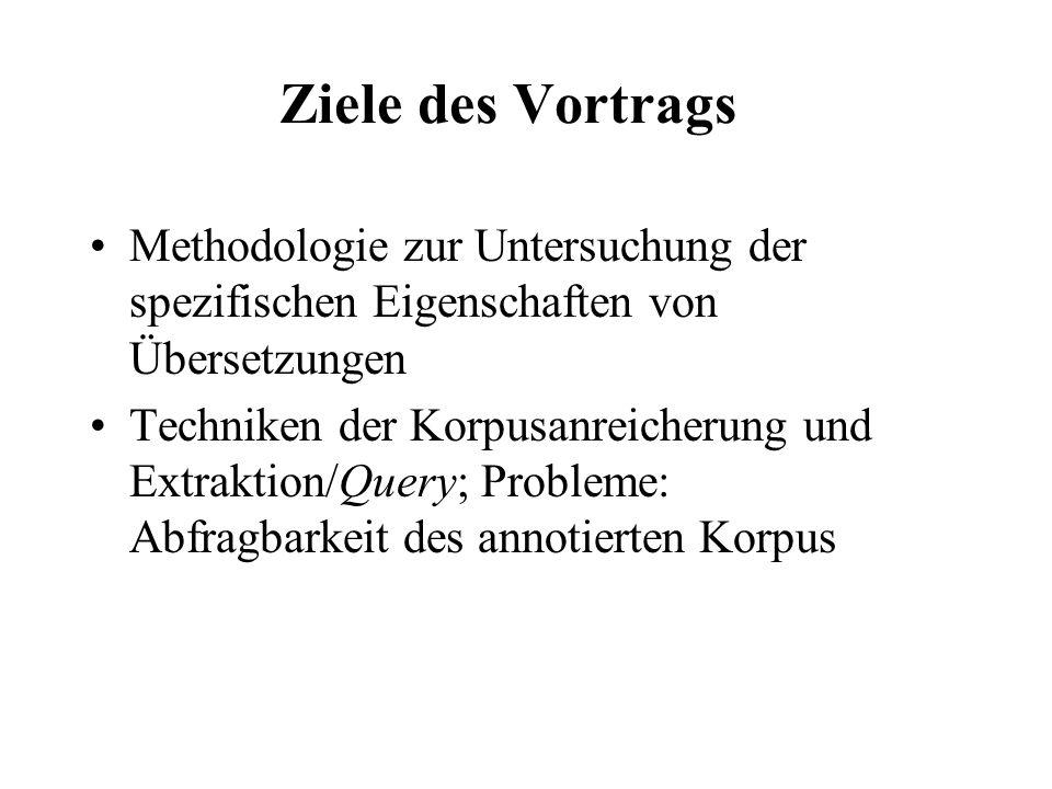 Korpusbasierte Übersetzungswissenschaft Beobachtungen & Hypothesen: Übersetzungen –sind länger (Anzahl der tokens/Wörter) als ihre QS-Texte explicitation –haben kürzere Sätze (Anzahl der tokens/Wörter pro Satz) als vergleichbare ZS-Originaltexte –haben mehr Sätze als vergleichbare ZS-Originaltexte –haben eine niedrigere type-token ratio als vergleich- bare ZS-Originaltexte –haben eine geringere lexikalische Dichte als vergleich- bare ZS-Originaltexte –sind normaler als vergleichbare ZS-Originaltexte normalization, standardization –lassen QS durchscheinen interference, shining-through Korpusdesign: comparable corpus, z.B.