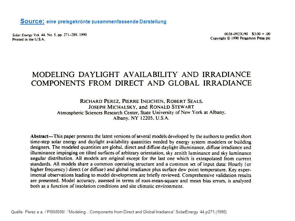 Source: eine preisgekrönte zusammenfassende Darstellung Quelle: Perez e.a. / PISMS90/ :Modeling…Components from Direct and Global Irradiance.SolarEner