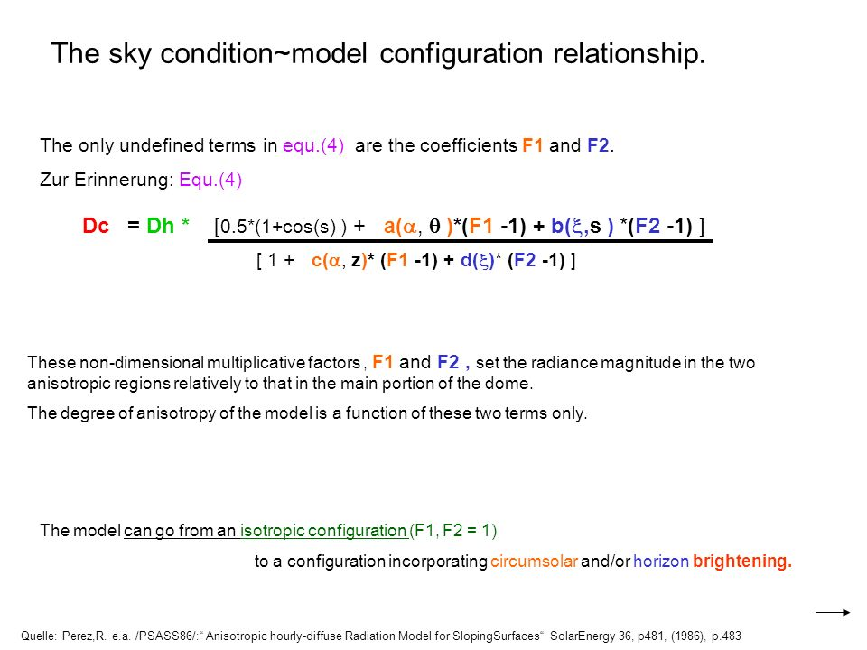The sky condition~model configuration relationship. Quelle: Perez,R. e.a. /PSASS86/: Anisotropic hourly-diffuse Radiation Model for SlopingSurfaces So