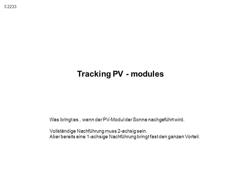 Tracking PV - modules Was bringt es, wenn der PV-Modul der Sonne nachgeführt wird. Vollständige Nachführung muss 2-achsig sein. Aber bereits eine 1-ac