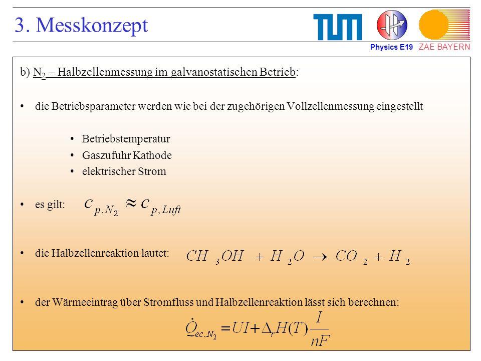 ZAE BAYERN 3. Messkonzept b) N 2 – Halbzellenmessung im galvanostatischen Betrieb: die Betriebsparameter werden wie bei der zugehörigen Vollzellenmess
