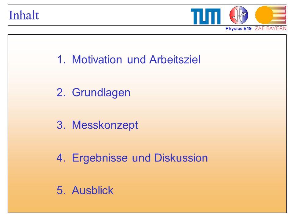 ZAE BAYERN Inhalt 1.Motivation und Arbeitsziel 2.Grundlagen 3.Messkonzept 4.Ergebnisse und Diskussion 5.Ausblick Physics E19