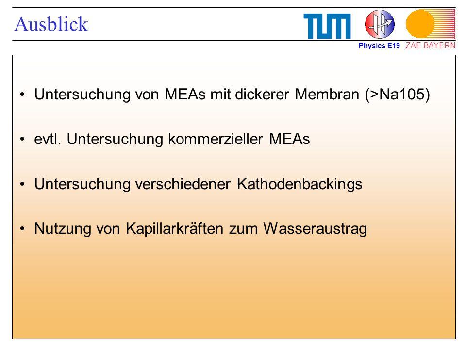 ZAE BAYERN Ausblick Untersuchung von MEAs mit dickerer Membran (>Na105) evtl. Untersuchung kommerzieller MEAs Untersuchung verschiedener Kathodenbacki