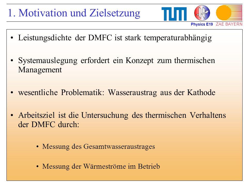 ZAE BAYERN 1. Motivation und Zielsetzung Leistungsdichte der DMFC ist stark temperaturabhängig Systemauslegung erfordert ein Konzept zum thermischen M