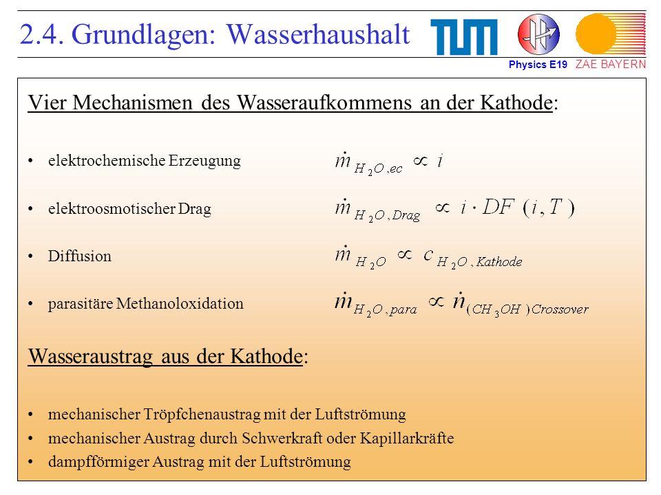 ZAE BAYERN 2.4. Grundlagen: Wasserhaushalt Vier Mechanismen des Wasseraufkommens an der Kathode: elektrochemische Erzeugung elektroosmotischer Drag Di