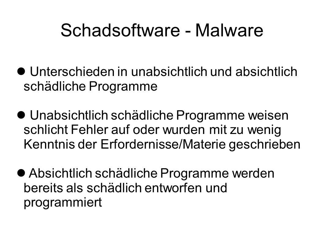 Schadsoftware - Malware Unterschieden in unabsichtlich und absichtlich schädliche Programme Unabsichtlich schädliche Programme weisen schlicht Fehler