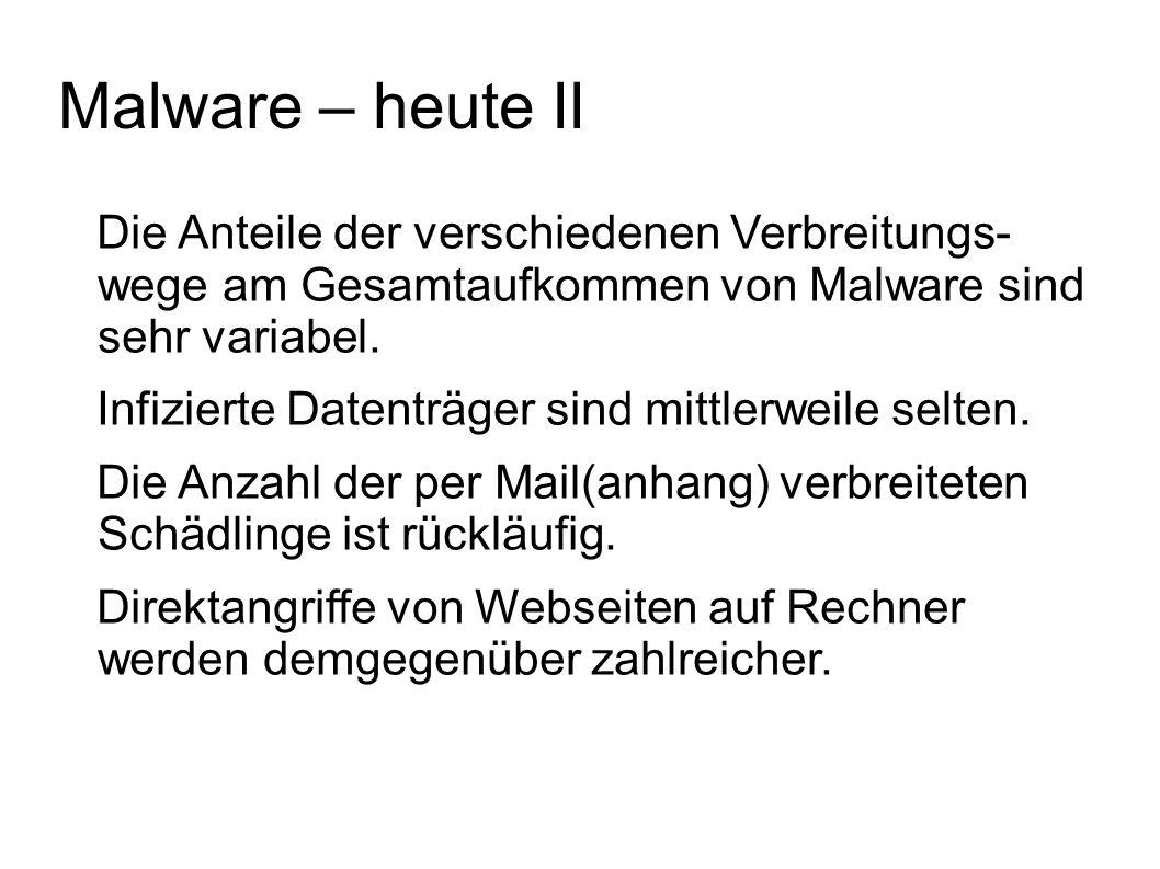 Malware – heute II Die Anteile der verschiedenen Verbreitungs- wege am Gesamtaufkommen von Malware sind sehr variabel. Infizierte Datenträger sind mit