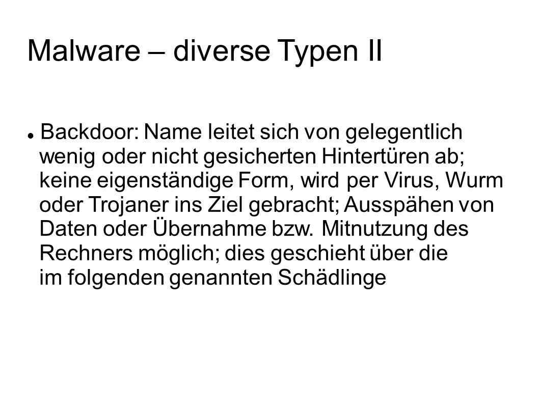 Malware – diverse Typen III Spyware: Ausspionieren des Nutzers durch unbemerktes Kopieren seiner Daten und/oder Mitschneiden seiner Aktionen (Keylogger); Ziel ist etwa das Stehlen von Bank- oder Adressdaten zwecks Diebstahl oder Betrug bzw.