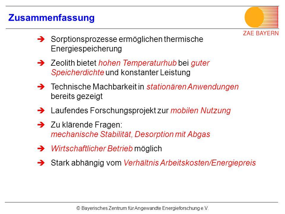 © Bayerisches Zentrum für Angewandte Energieforschung e.V. Sorptionsprozesse ermöglichen thermische Energiespeicherung Zeolith bietet hohen Temperatur