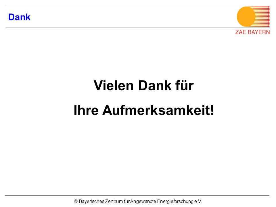 © Bayerisches Zentrum für Angewandte Energieforschung e.V. Vielen Dank für Ihre Aufmerksamkeit! Dank