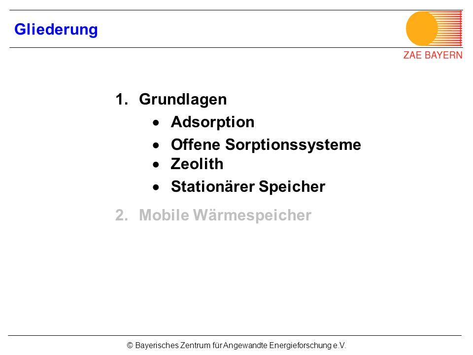 © Bayerisches Zentrum für Angewandte Energieforschung e.V. Gliederung 1.Grundlagen Adsorption Offene Sorptionssysteme Zeolith Stationärer Speicher 2.M