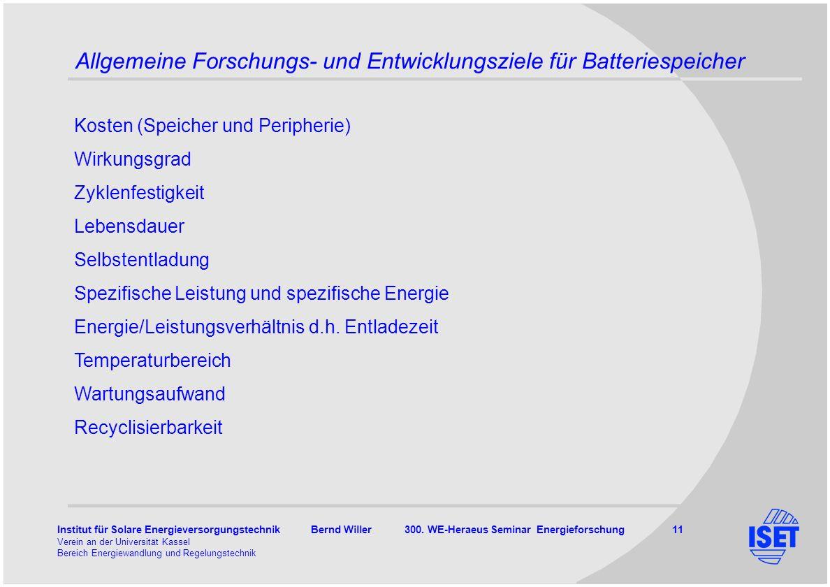 Institut für Solare Energieversorgungstechnik Bernd Willer 300. WE-Heraeus Seminar Energieforschung 11 Verein an der Universität Kassel Bereich Energi