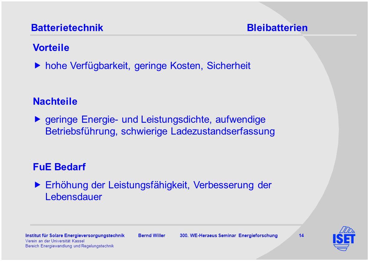 Institut für Solare Energieversorgungstechnik Bernd Willer 300. WE-Heraeus Seminar Energieforschung 14 Verein an der Universität Kassel Bereich Energi