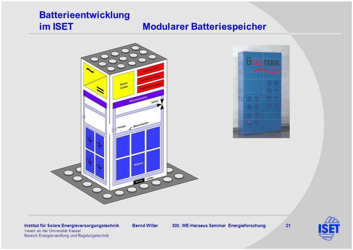 Institut für Solare Energieversorgungstechnik Bernd Willer 300. WE-Heraeus Seminar Energieforschung 21 Verein an der Universität Kassel Bereich Energi