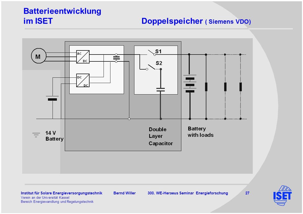 Institut für Solare Energieversorgungstechnik Bernd Willer 300. WE-Heraeus Seminar Energieforschung 27 Verein an der Universität Kassel Bereich Energi