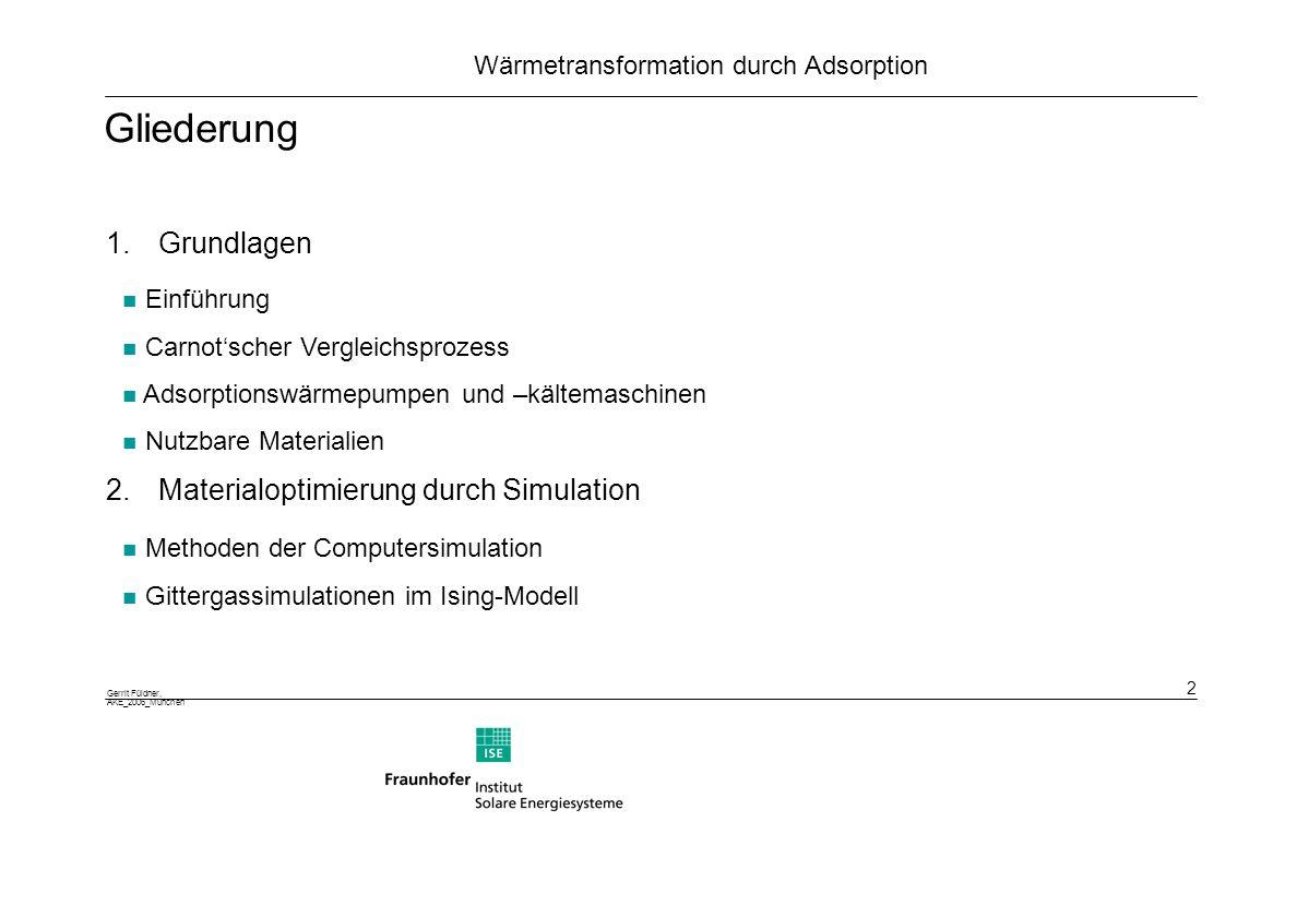 Gerrit Füldner, AKE_2006_München 13 Wärmetransformation durch Adsorption Mögliche Phasenübergänge von Wasser in Poren Isothermen nach IUPAC Layering, Wetting und Kapillarkondensation, Brovchenko et al.