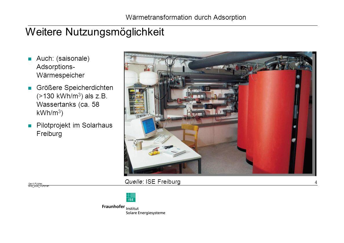 Gerrit Füldner, AKE_2006_München 5 Wärmetransformation durch Adsorption Carnotscher Vergleichsprozess Exergie Ex=(1-T 1 /T 2 )Q Bei T2: Ex(Q 2 )=W => Q1 =Q 2 – W Bei T 0 wird W zugeführt => Q1 =Q 0 + W => Q 1 =Q 0 +Q 2 steht bei T 1 zur Verfügung Fläche nutzbar für Bild /Graph