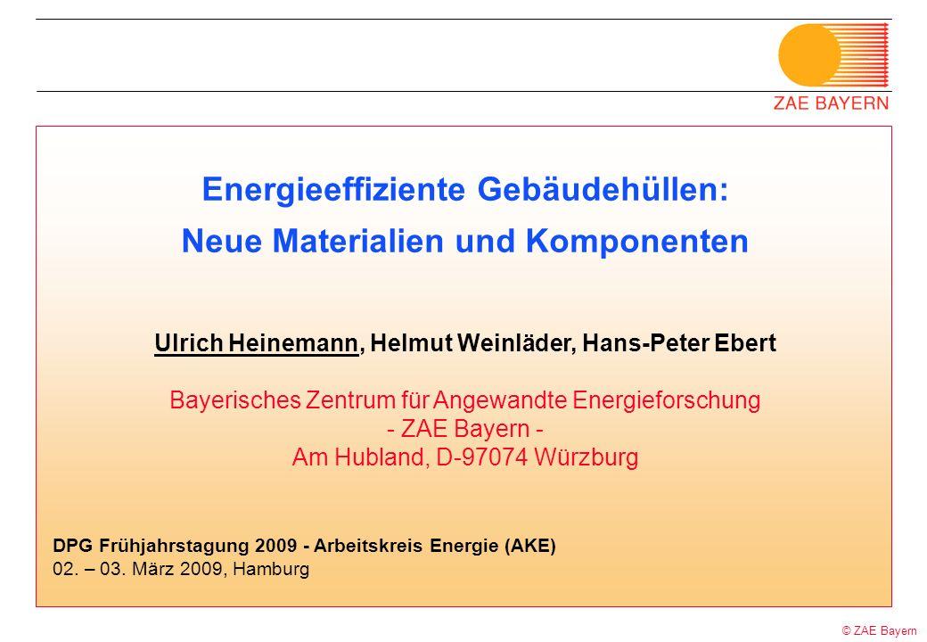 © ZAE Bayern Energieeffiziente Gebäudehüllen: Neue Materialien und Komponenten Ulrich Heinemann, Helmut Weinläder, Hans-Peter Ebert Bayerisches Zentru
