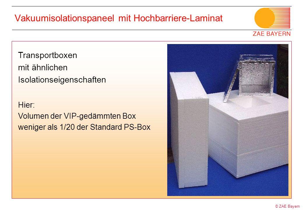 © ZAE Bayern Vakuumisolationspaneel mit Hochbarriere-Laminat Transportboxen mit ähnlichen Isolationseigenschaften Hier: Volumen der VIP-gedämmten Box