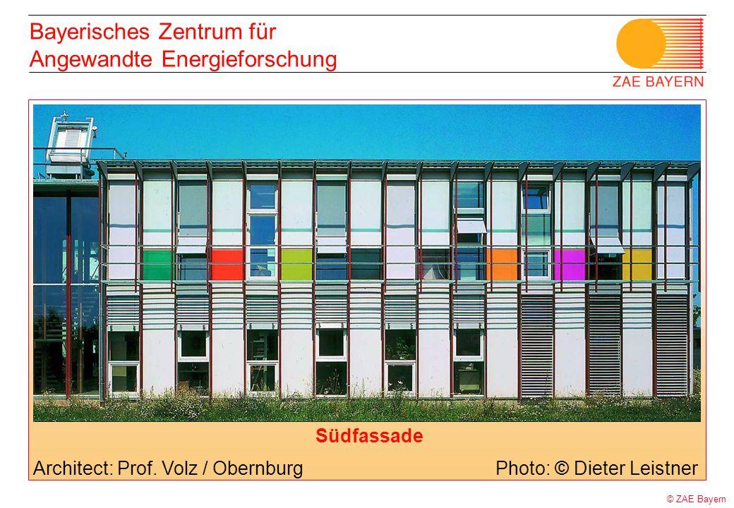 © ZAE Bayern Bayerisches Zentrum für Angewandte Energieforschung Architect: Prof. Volz / ObernburgPhoto: © Dieter Leistner Südfassade